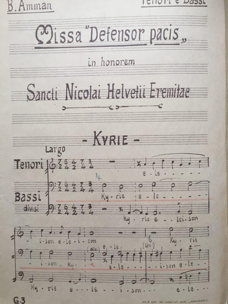 Missa «Defensor Pacis»: Chorstimme für Tenor und Bass, Anfang des Kyrie. | © Hubert Spörri, Wettingen