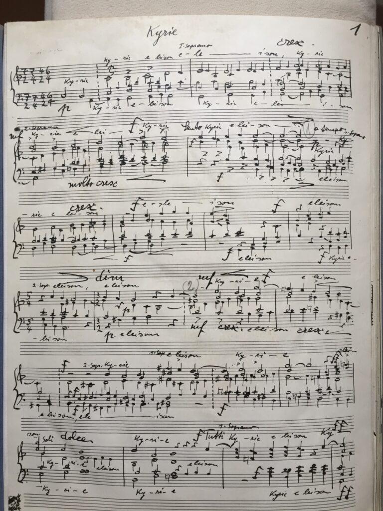 Aus der Partitur der Missa «Defensor Pacis»: Anfang der Messe mit dem Kyrie. | © Hubert Spörri, Wettingen