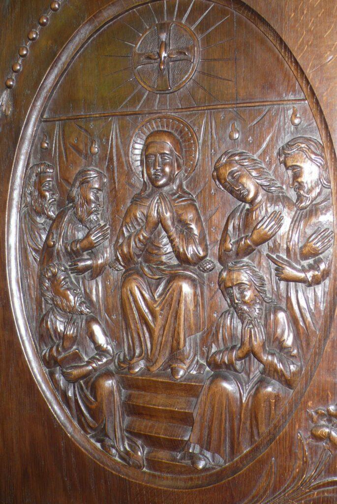 Geschnitzte Rosenkranz-Madonna in der Kapelle Notre-Dame du Rosoire in Les Fontenottes. | © Claude Roulet