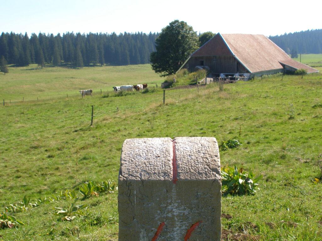 Das «Chalet» von Maix-Rochat, wo bis in die 1970er-Jahre jeweils im Sommer die Milch frisch zu Gruyère verarbeitet wurde, liegt haarscharf auf der französischen Seite der Grenze (der Hof in der Schweiz). | © Christian von Arx