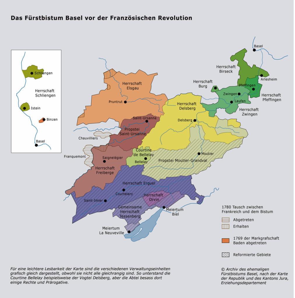 Das Fürstbistum Basel vor der Französischen Revolution bestand aus einer Vielfalt von «Herrschaften» mit unterschiedlichem Rechtsstatus. Die südlichen Gebiete (schräg schraffiert) waren reformiert und mit  Bern verbündet. | © Archiv des ehemaligen Fürstbistums Basel (Porrentruy)