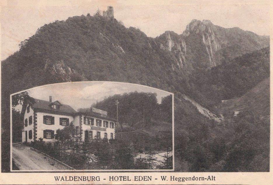 Vor 100 Jahren: Das Hotel Eden am Fuss der Ruine Waldenburg (Postkarte, 1921).  | © Fritz Degen/Industriemuseum Waldenburgertal IMW