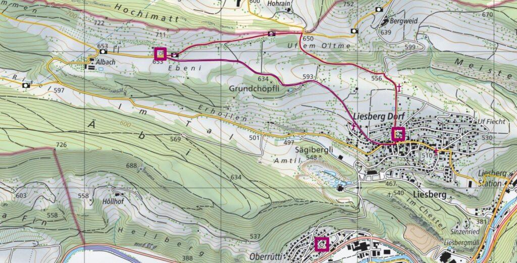 Die Wanderroute und die Standorte der drei besuchten Sakralbauten von Liesberg. | © Schweizmobil